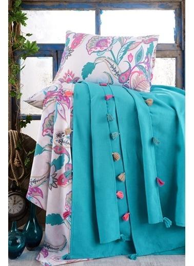 Lady Moda Çift Kişilik Pamuklu Ponponlu Pike Takımı | Mavi Renkli
